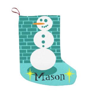 City Sidewalk Snowman Christmas Stocking