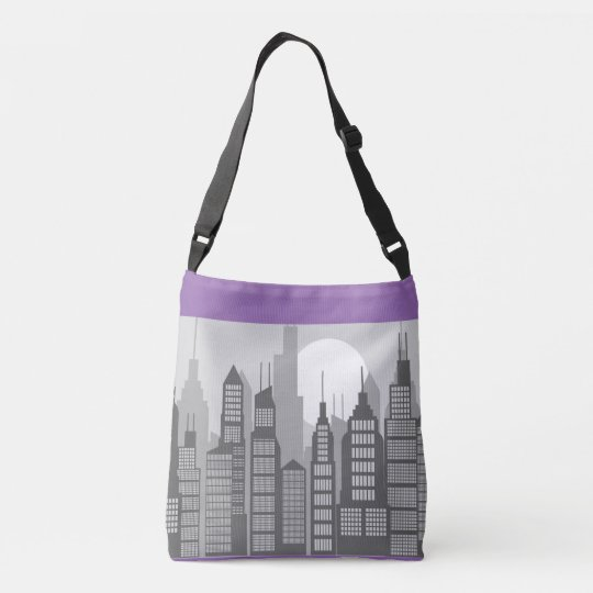 City Skyline in Purple Cross Body Tote