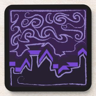 City Skyline in Wavy Night Skies Coaster