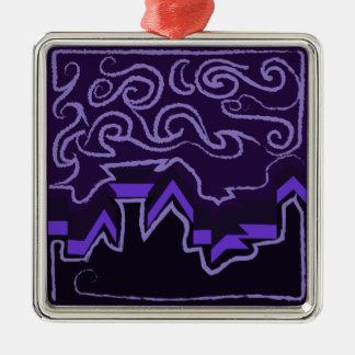 City Skyline in Wavy Night Skies Metal Ornament