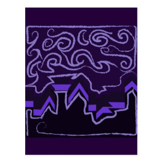 City Skyline in Wavy Night Skies Postcard