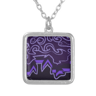 City Skyline in Wavy Night Skies Silver Plated Necklace