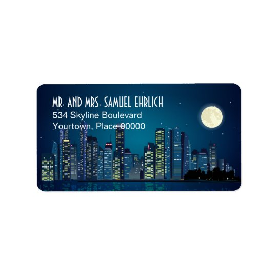City Skyline Return Address Label