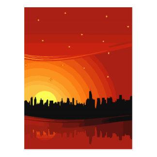 City Skyline Sunset Postcard