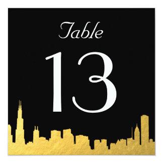 City Skyline Wedding Table Number Card