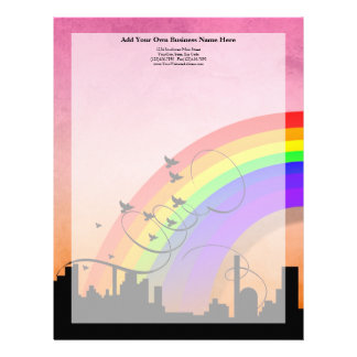 City Skyline with Rainbow and Birds Flying Letterhead