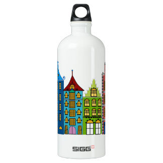 City Street Folk Art on Water Bottle