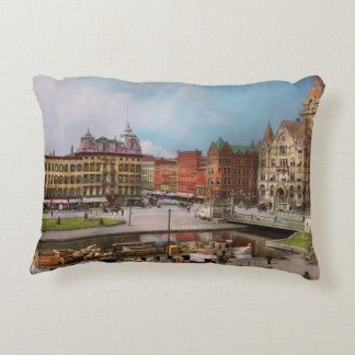 City - Syracuse NY - The Clinton Square Canal 1905 Accent Pillow