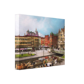 City - Syracuse NY - The Clinton Square Canal 1905 Canvas Print