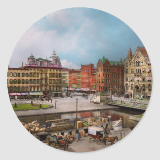 City - Syracuse NY - The Clinton Square Canal 1905 Classic Round Sticker