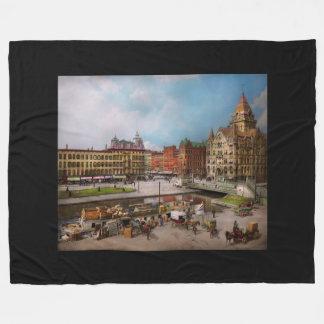 City - Syracuse NY - The Clinton Square Canal 1905 Fleece Blanket
