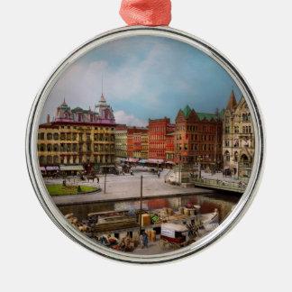 City - Syracuse NY - The Clinton Square Canal 1905 Metal Ornament