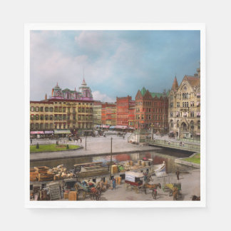 City - Syracuse NY - The Clinton Square Canal 1905 Paper Napkin