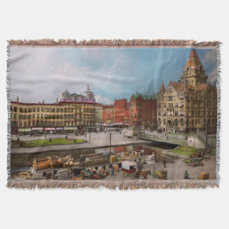 City - Syracuse NY - The Clinton Square Canal 1905 Throw Blanket