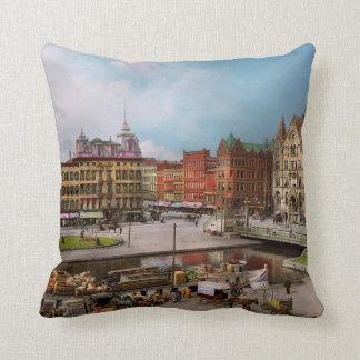 City - Syracuse NY - The Clinton Square Canal 1905 Throw Pillow