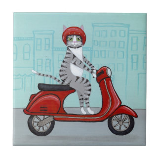 City Tabby on a Scooter Ceramic Tile