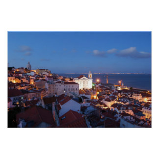 City view in Lisbon, Portugal (sunset) Poster