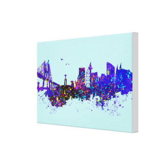 City watercolor lisbon canvas print