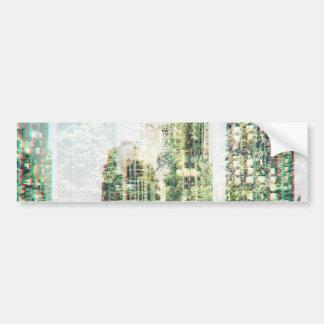 Cityscape and forest bumper sticker