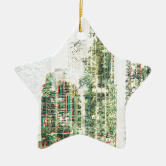 Cityscape and forest ceramic ornament