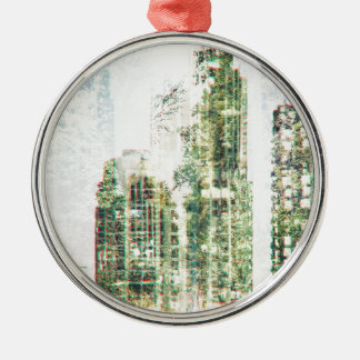 Cityscape and forest metal ornament