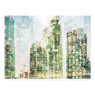 Cityscape and forest postcard