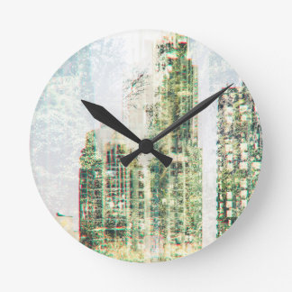 Cityscape and forest round clock