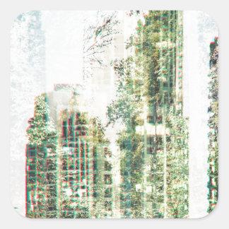 Cityscape and forest square sticker
