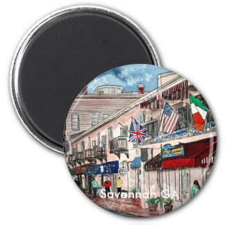 Cityscape architecture historical art, Savannah GA Magnet
