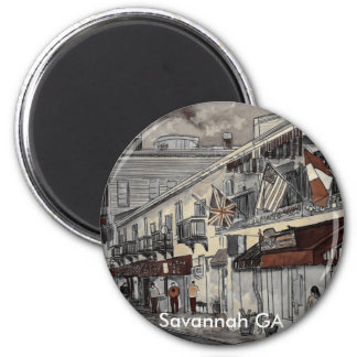 Cityscape architecture historical art, Savannah GA Magnet