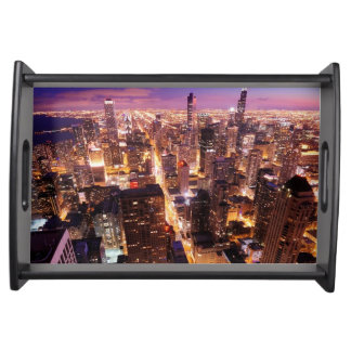 Cityscape at night of Chicago Serving Tray