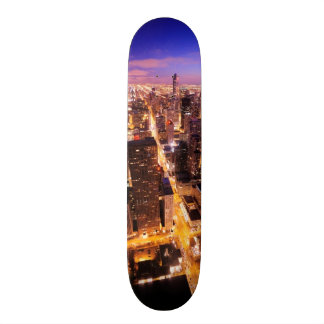 Cityscape at night of Chicago Skate Board Deck