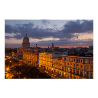 Cityscape at sunset, Havana, Cuba Poster