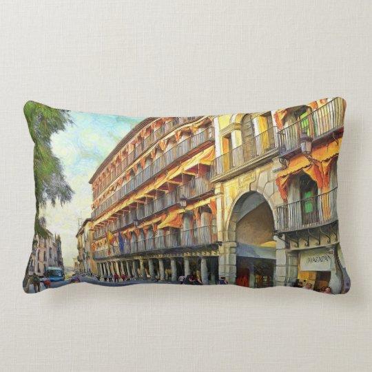 Cityscape at sunset. lumbar pillow