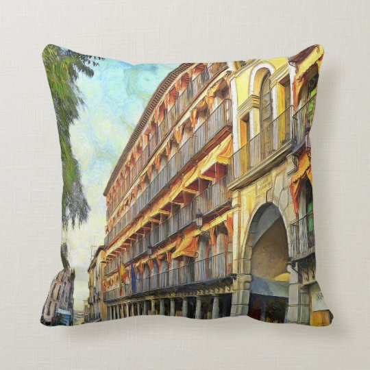 Cityscape at sunset. throw pillow