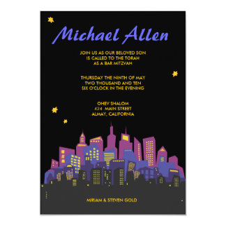 CITYSCAPE Bar Bat Mitzvah Invitation Invite