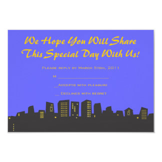 CITYSCAPE Birthday party Invitation reply card