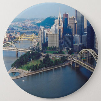 CITYSCAPE-BRIDGES 6 INCH ROUND BUTTON