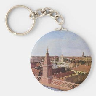 Cityscape - Eduard Gaertner Basic Round Button Keychain