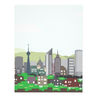 Cityscape Hills Vector homes and skyscrapers Customized Letterhead
