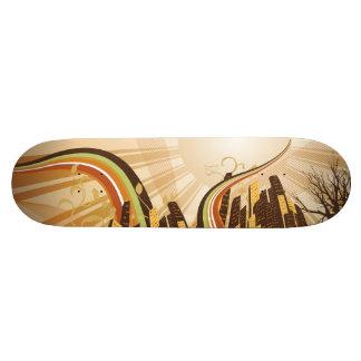 Cityscape illustration custom skate board
