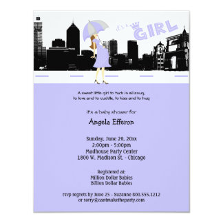 Cityscape Lavender and Grey Baby Shower Invitation