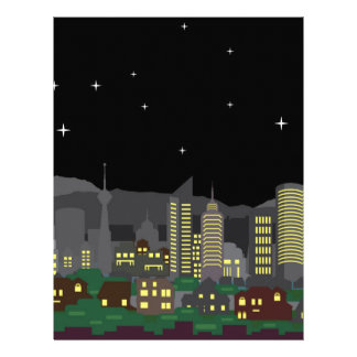 Cityscape Night Vector homes and skyscrapers Customized Letterhead