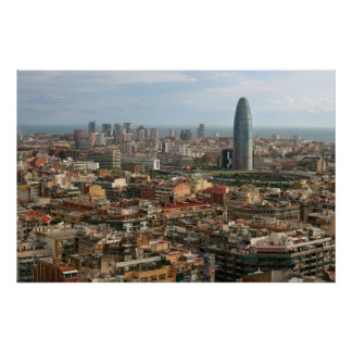 cityscape of barcelona poster