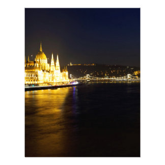 Cityscape of Budapest at night Letterhead