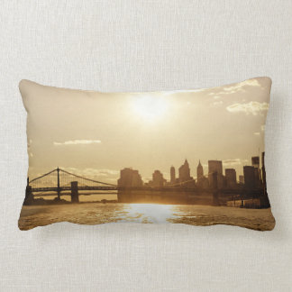 Cityscape Sunset over the New York Skyline Lumbar Pillow