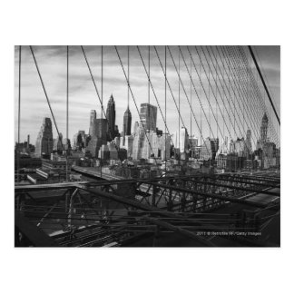 Cityscape through bridge cables postcard