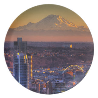 Cityscape view of Seattle downtown, football Dinner Plate