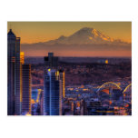 Cityscape view of Seattle downtown, football Post Card
