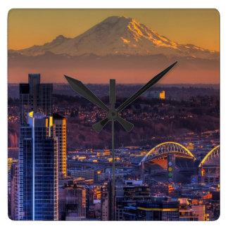 Cityscape view of Seattle downtown, football Wallclocks